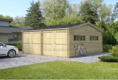 Podwójny garaż drewniany Double C 36m² (6x6m), 44mm
