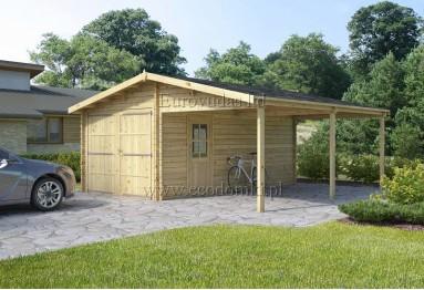 Garaż drewniany + wiata  36m² (6x6m), 44mm