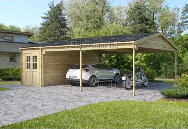 Podwójny garaż drewniany Double C + wiata XXL 48m² (8x6m), 44mm