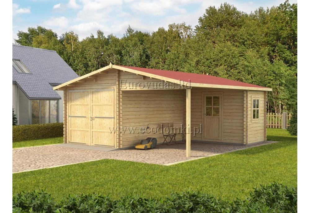 Garaż Drewniany Plus Z Pomieszczeniem Gospodarczym 6x6m 44mm